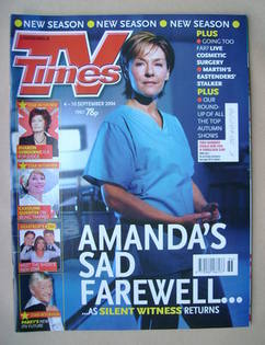 <!--2004-09-04-->TV Times magazine - Amanda Burton cover (4-10 September 20