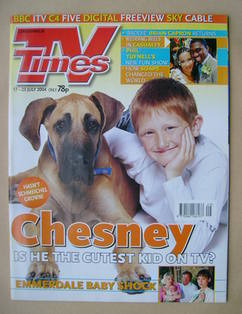 <!--2004-07-17-->TV Times magazine - Sam Aston cover (17-23 July 2004)