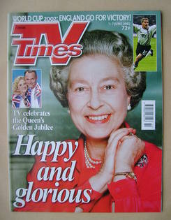 <!--2002-06-01-->TV Times magazine - The Queen cover (1-7 June 2002)