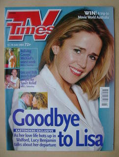 <!--2002-07-13-->TV Times magazine - Lucy Benjamin cover (13-19 July 2002)