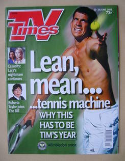 <!--2002-06-22-->TV Times magazine - Tim Henman cover (22-28 June 2002)