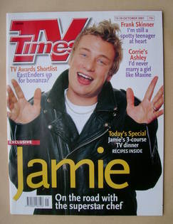 <!--2001-10-13-->TV Times magazine - Jamie Oliver cover (13-19 October 2001