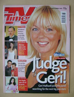 <!--2002-09-07-->TV Times magazine - Geri Halliwell cover (7-13 September 2