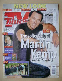 <!--2002-09-21-->TV Times magazine - Martin Kemp cover (21-27 September 200