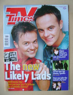 <!--2002-05-11-->TV Times magazine - Ant and Dec cover (11-17 May 2002)