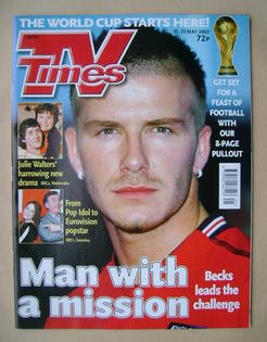 <!--2002-05-25-->TV Times magazine - David Beckham cover (25-31 May 2002)