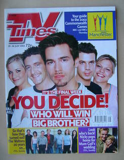 <!--2002-07-20-->TV Times magazine - Big Brother cover (20-26 July 2002)