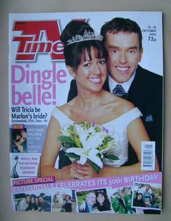 <!--2002-10-12-->TV Times magazine - Mark Charnock and Sheree Murphy cover