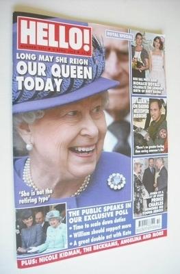 <!--2013-04-08-->Hello! magazine - Queen Elizabeth II cover (8 April 2013 -