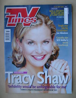 <!--2001-09-15-->TV Times magazine - Tracy Shaw cover (15-21 September 2001