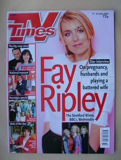 <!--2002-08-17-->TV Times magazine - Fay Ripley cover (17-23 August 2002)