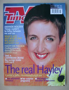 <!--2001-08-11-->TV Times magazine - Julie Hesmondhalgh cover (11-17 August