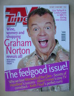 <!--2001-10-27-->TV Times magazine - Graham Norton cover (27 October-2 Nove