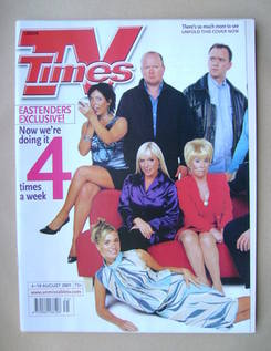 <!--2001-08-04-->TV Times magazine - EastEnders cover (4-10 August 2001)
