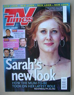 <!--2002-09-28-->TV Times magazine - Sarah Lancashire cover (28 September-4