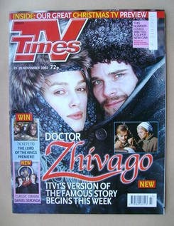 <!--2002-11-23-->TV Times magazine - Keira Knightley and Hans Matheson cove