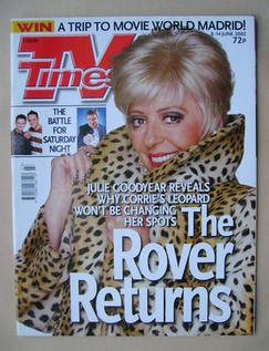 <!--2002-06-08-->TV Times magazine - Julie Goodyear cover (8-14 June 2002)
