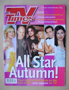 <!--2002-08-31-->TV Times magazine - All Star Autumn cover (31 August-6 Sep