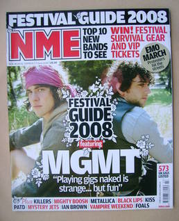 <!--2008-06-07-->NME magazine - MGMT cover (7 June 2008)