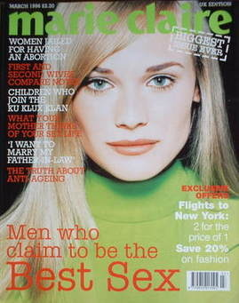 British Marie Claire magazine - March 1996 - Diane Heidkrueger cover