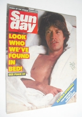 <!--1985-03-24-->Sunday magazine - 24 March 1985 - Mick Jagger cover