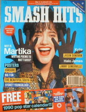 <!--1990-01-10-->Smash Hits magazine - Martika cover (10-23 January 1990)