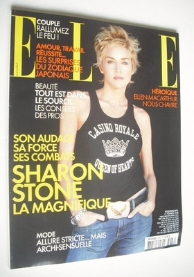 <!--2005-02-21-->French Elle magazine - 21 February 2005 - Sharon Stone cov