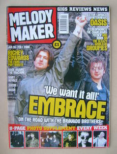 <!--2000-01-26-->Melody Maker magazine - Embrace cover (26 January-1 Februa