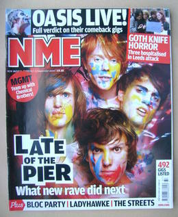 <!--2008-09-13-->NME magazine - Late Of The Pier cover (13 September 2008)