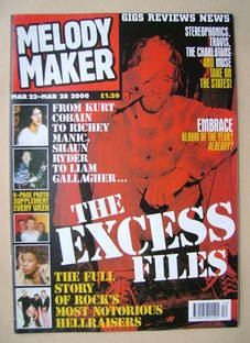 <!--2000-03-22-->Melody Maker magazine - The Excess Files cover (22-28 Marc
