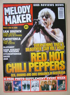 <!--2000-02-09-->Melody Maker magazine - Anthony Kiedis cover (9-15 Februar