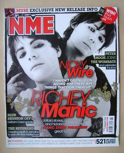 <!--2008-02-09-->NME magazine - Richey Edwards and Nicky Wire cover (9 Febr