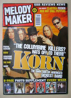 <!--2000-02-02-->Melody Maker magazine - Korn cover (2-8 February 2000)