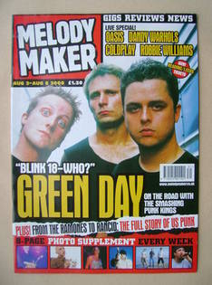 <!--2000-08-02-->Melody Maker magazine - Green Day cover (2-8 August 2000)