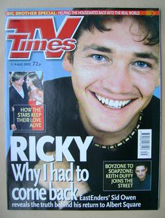<!--2002-08-03-->TV Times magazine - Sid Owen cover (3-9 August 2002)