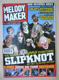 <!--2000-08-09-->Melody Maker magazine - Slipknot cover (9-15 August 2000)