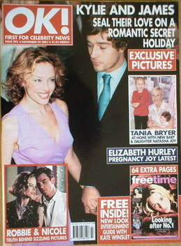 <!--2001-11-29-->OK! magazine - Kylie Minogue and James Gooding cover (29 N