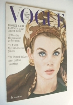 British Vogue magazine - August 1963 - Jean Shrimpton cover