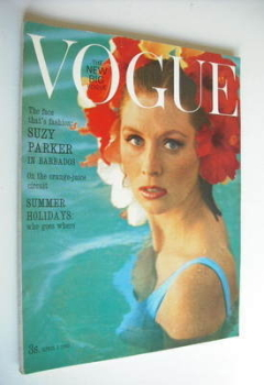 British Vogue magazine - 1 April 1963 - Suzy Parker cover