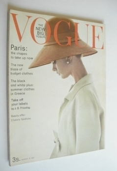 British Vogue magazine - 15 March 1963 - Jean Shrimpton cover