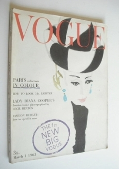 British Vogue magazine - 1 March 1963 (Vintage Issue)