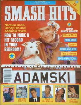<!--1990-05-30-->Smash Hits magazine - Adamski cover (30 May 1990)
