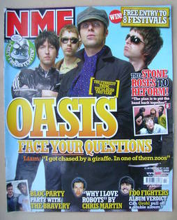 <!--2005-06-04-->NME magazine - Oasis cover (4 June 2005)