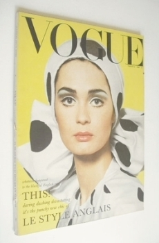 British Vogue magazine - 15 March 1965 - Marie Lise Gres cover