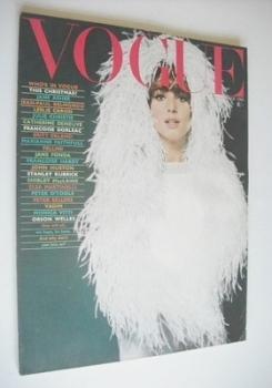 British Vogue magazine - December 1965 - Elsa Martinelli cover
