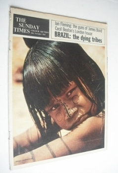 The Sunday Times Colour Section magazine - Brazil The Dying Tribes cover (18 November 1962)