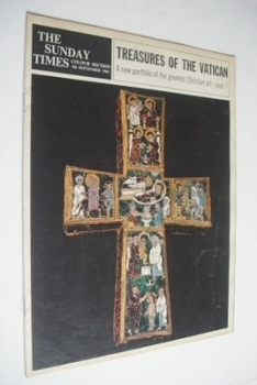 The Sunday Times Colour section - Treasures Of The Vatican cover (9 September 1962)