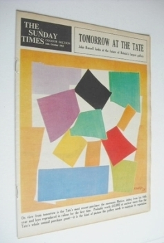 The Sunday Times Colour section - Tomorrow At The Tate cover (14 October 1962)