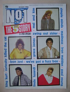 <!--1986-11-22-->No 1 Magazine - Five Star cover (22 November 1986)