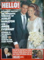 <!--1996-12-14-->Hello! magazine - Ashley Hamilton and Angie Everhart wedding cover (14 December 1996 - Issue 437)
